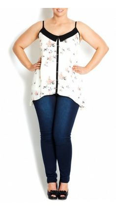 Plus Size Strappy Contrast Top - City Chic - City Chic