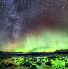 """MilkyWay Aurora Pano"", By  Iceland Aurora (Photo Tours), Tony Prower, Flicker, Taken on November 26, 2011 using a Canon EOS 5D Mark II."