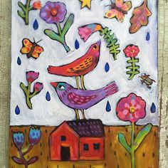New today! #etsyseller #folkartpainting #cutebirds #southernartist #originalpainting #flowerpower #folkartpainting