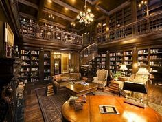 Super Home Library Room Luxury House Plans Ideas Home Library Rooms, Home Library Design, Home Libraries, Library Ideas, Library Inspiration, Beautiful Library, Dream Library, Future Library, Cozy Library