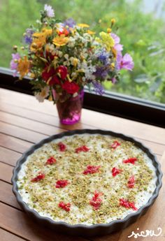 Lebanese bread pudding with pistachios and rose petals. I'm gona try it one day definitely :))