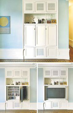 Many people hide the TV in a bulky armoire, but architect James Wagman found a sleeker solution while remodeling a prewar New York apartment: a built-in cupboard that, decked out in traditional molding, looks like an original feature. Most people want to be able to put the TV away, Mr. Wagman said, including his client, a TV casting director. The cupboard opens to reveal media storage and a flat-screen that slides out and pivots into viewing position.