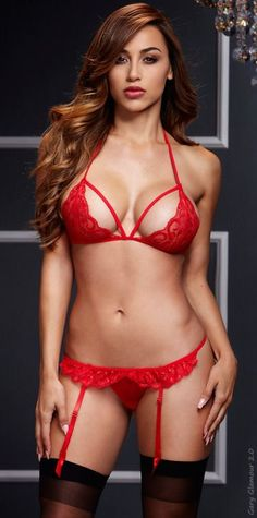 d144e42cd70 Red sexy set features a lacy bra with unique strap accents