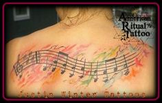 """Watercolor """"Hush Little Baby"""" musical notes tattoo by Justin Winter American Ritual Tattoo Tacoma, Wa. For her mom. Sweet Tattoos, Dream Tattoos, Aquarell Tattoos, Tattoo Ideas, Tattoo Designs, Note Tattoo, Music Tattoos, Tattoos With Meaning, Hush Hush"""