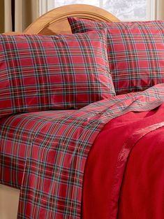 Our plaid percale sheet set are made in Portugal just for us, like all our open stock sheets, for soft yet crisp smoothness in pretty plaid for a custom look. Youth Rooms, Plaid Bedding, Christmas Bedding, Christmas Window Decorations, King Sheets, Percale Sheets, Queen Comforter Sets, Flat Sheets, Cottage Style