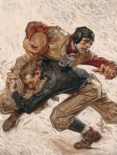 shear-in-spuh-rey-shuhn:  J.C. LEYENDECKERFootball ScrimmageOil on Canvas27″ x 19″