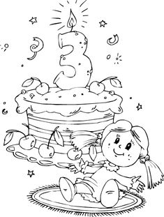 Birthday Cake Age 3 Coloring Page  Coloringcom