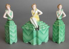 3 Piece Art Deco Bavarian porcelain perfume set