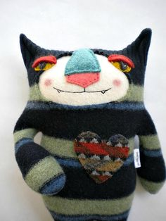 Striped Tiger Cat Stuffed Animal from Wool Sweater Felted Repurposed