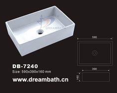 Product Name:Vessel Sink Model No.: DB-7240   Dimension: 590X390X160mm  (1 inch = 25.4 mm)   Volume: 0.048CBM  Gross Weight: 15KGS  (1 KG ≈ 2.2 LBS) Sink shape: Rectangular