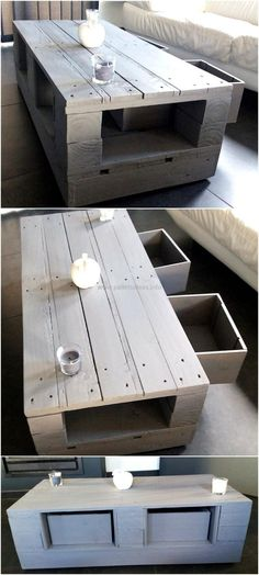 Now come to an idea to fulfill the table need in a TV launch, this idea contains drawers to store the items and also has a space on the sides of the drawers under the surface of the table to place the decorative items. It is a good idea to save money and showing your skills.