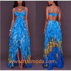 b97884234fc3 Print Back Cutout Irregular Hemline Maxi Dress