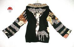 African Elf Hoodie Plus Size 2X XXL Pixie Pullover Sweater Hoody Patchwork Black Animal Print Tiger Leopard Zebra Wild Jumper Africa Safari