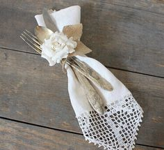 utensils tied with burlap (we used silver plastic and at first look everyone thought that it was real silver!) sweet!