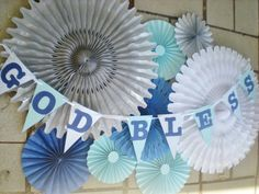 First Communion banner and table backdrop, paper fans, tissue fans blue silver and white First Communion Banner, Boys First Communion, Boy Baptism Centerpieces, Pendant Banner, Little Prince Party, Honeycomb Decorations, Blue And Silver, Dark Blue, Light Blue