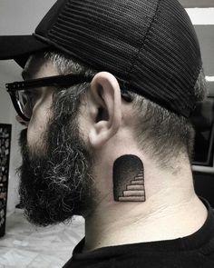 Blackwork stairway tattoo on the left side of the neck - Tattoos - Nape Tattoo, Side Tattoos, Finger Tattoos, Body Art Tattoos, Sleeve Tattoos, Tattoo On Neck, Neck Tattoos, Unique Tattoos, Beautiful Tattoos