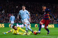 Neymar of FC Barcelona competes for the ball with Sergio Alvarez of RC Celta de Vigo during the La Liga match between FC Barcelona and Celta Vigo at Camp Nou on February 14, 2016 in Barcelona