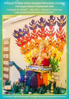 Prathamesh Naik Home Ganpati Picture 2016. View more pictures and videos of Ganpati Decoration at www.ganpati.tv