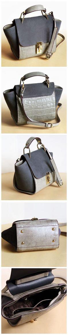 Women Fashion Modern Genuine Leather Bag Shoulder Bag Handbag Messenger Bag AM01 Overview: Design: Women Fashion Handbag In Stock: 3-5 days For Making Include: Only Handbag Color: Gray Leather: Cow Le