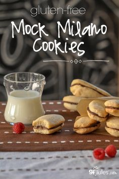 Gluten Free Mock Milano Cookies - Don't mourn the fact that you can't grab a Pepperidge Farm Milano Cookie bag and eat them by the fistful anymore; make new yummy memories by baking your own gluten free Milano cookies! Cookies Gluten Free, Gluten Free Cookie Recipes, Gluten Free Treats, Gluten Free Baking, Gluten Free Desserts, Dessert Recipes, Paleo Treats, Gf Recipes, Recipies