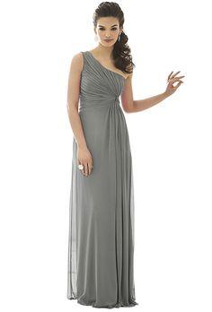 Brides.com: Grey Bridesmaid Dresses for Cold-Weather Weddings Style F15638, long sleeveless crepe dress with embellished belt, $169, David's BridalPhoto: Courtesy of David's Bridal