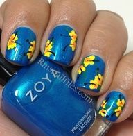 Tropical Nail Manicures! The blue is so pretty on these nails!