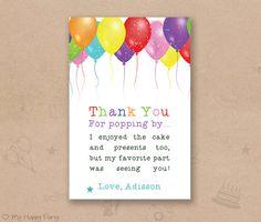 """Balloon birthday thank you card, Balloons favor card, Balloons birthday party - PRINTABLE 4""""x6"""", kids thank you, kids favor"""