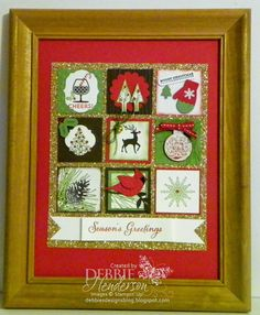 Christmas Holiday Frame using Stampin' Up! products. Punch Art. Debbie Henderson, Debbie's Designs.