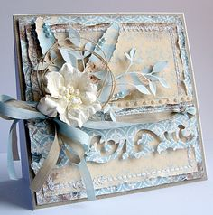 Dorota_mk: DT Riddersholm Design--note ribbon on card Mixed Media Cards, Estilo Shabby Chic, Shabby Chic Cards, Beautiful Handmade Cards, Marianne Design, Card Making Inspiration, Card Tags, Greeting Card, Pretty Cards