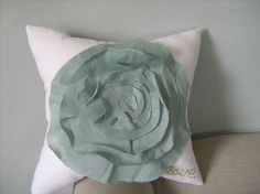 French Rose LOVE Pillow in White and Robin Egg by dedeetsyshop, $34.00
