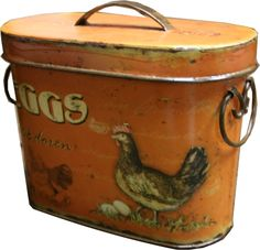 """Eggs"" lettering and Chicken on small tin box, contemporary whimsy for decoration."