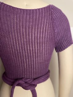 The back and raglan sleeves are ribbed. The front ties are wrapped around and tied in the back. Ties, Challenges, Lingerie, Pullover, Sleeves, Sweaters, Clothes, Design, Fashion