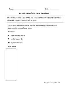 name acrostic poem worksheet standards met writing poetry education pinterest language. Black Bedroom Furniture Sets. Home Design Ideas