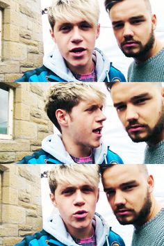 In the second one Niall looks like he did when Louis slapped him lol
