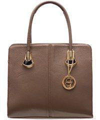 Glamorous by Glam Dámská kožená kabelka se zlatými doplňky béžovo hnědá