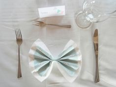 Bow napkins Napkins, Baptism Ideas, Bows, Tableware, Arches, Dinnerware, Towels, Dinner Napkins, Bowties