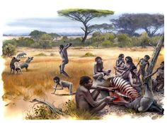 Restitution of a group of Homo habilis at a kill site in Pleistocene Africa by Olivier-Marc Nadel