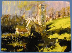 David Tress 'Stackpole Elidor Pembrokeshire' mixed media on paper 2009 Contemporary Landscape, Abstract Landscape, Landscape Paintings, Roots Drawing, Celtic Tree Of Life, Building Art, Chapelle, Art Techniques, Beautiful Landscapes