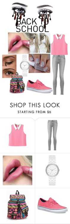 """back to schcool"" by li-directioner ❤ liked on Polyvore featuring 7 For All Mankind, Essie, DKNY, NLY Accessories and Vans"
