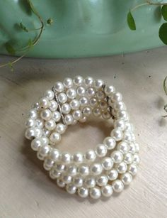 Vintage White Pearl Retro Wedding Wrap Bracelet by DanasLegacy, $12.00
