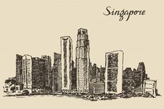 Singapore skyline by grop on @creativemarket