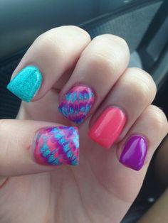 Bright summer gel nails Facebook.com/TipsNToesByErica