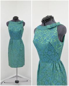 Vintage 50s Teal and Green Brocade Floral Dress by SprightlyVogue