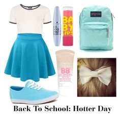 """""""Back To School: Hotter Day"""" by reaganbear ❤ liked on Polyvore featuring Topshop, Keds, Maybelline and JanSport"""