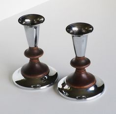 New to lingerawhile on Etsy: Kromex Chrome and Wood Candle Holders (14.00 USD)