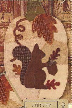 Primitive Wool Applique Patterns | Primitive Folk Art Wool Applique Pattern: AUGUST -- WHITE PUMPKIN ...