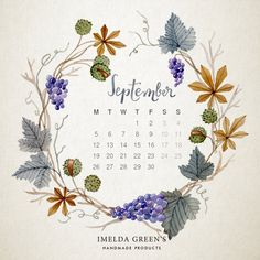 Hand-painted watercolor wreath with floral patterns of chestnut and grapes. Downloadable as a wallpaper calendar from my blog