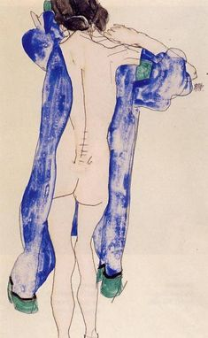 Эгон Шиле. Стоящая обнажённая в синем халате. 1913