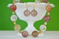 Chunky Crystal Statement Necklace & Matching Earrings  Handmade Beaded Jewelry Set in Pastel Earthtones  Red Hair Quartz  Evening Wear by kikiverde from Kikiverde Design Studio Find it now at http://ift.tt/29x2OSC! #EtsyGifts #Handmade #Etsy