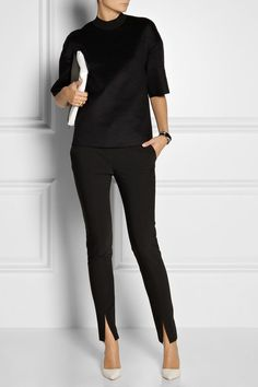 TIBI Slit-detailed woven pants | Just My Style